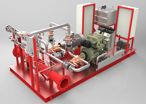 Pumps for dosing of foam concentrate in fire fighting stable system